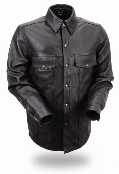 Men's Motorcycle Leather Shirt - Up To Size 8X - Milestone - FIM403ES-FM