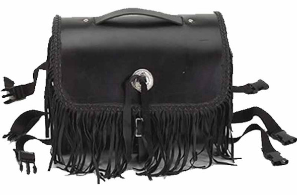Motorcycle Leather Sissy Bar Bag with Braid and Fringe - SKU SB5008-LEATHER-DL