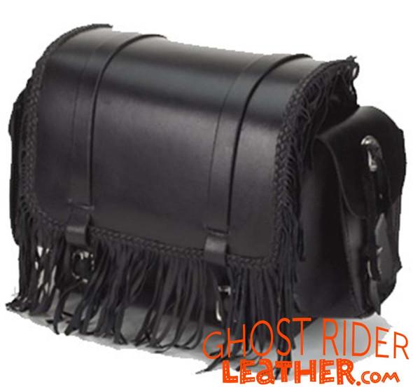Motorcycle Sissy Bar Bag - Fringe - Braid - Biker Gear Storage - SB73-DL