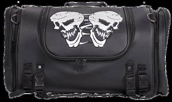 Motorcycle Sissy Bar Bag with Reflective Skulls - Medium - Biker Gear Bags - SB84-SKULL-MED-DL