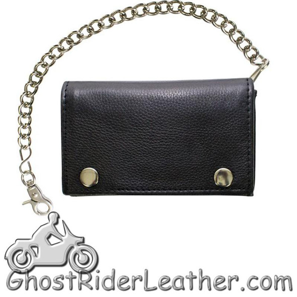 Naked Leather Chain Wallet Trifold With Snaps - GRL-AC52-11-DL