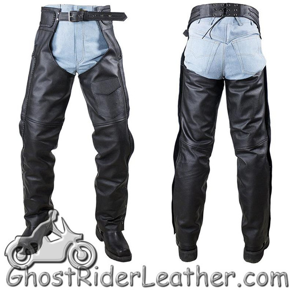 Naked Leather Chaps with Braid Design for Men or Women - SKU C4326-11-DL
