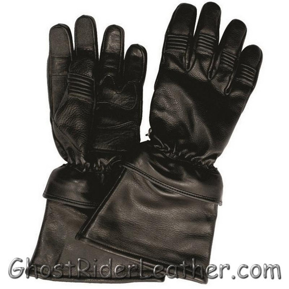 Leather Motorcycle Gloves - Men's - Removable Cuff  - Gauntlet Riding - AL3058-AL
