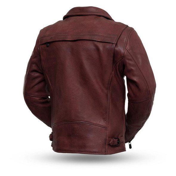Night Rider - Men's Platinum Naked Leather Motorcycle Jacket - Oxblood or Black - SKU FIM269CPMZ-FM