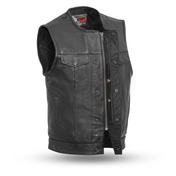 Leather Motorcycle Vest - Men's - Club Style - Up To 8XL - FIM639NOC-FM