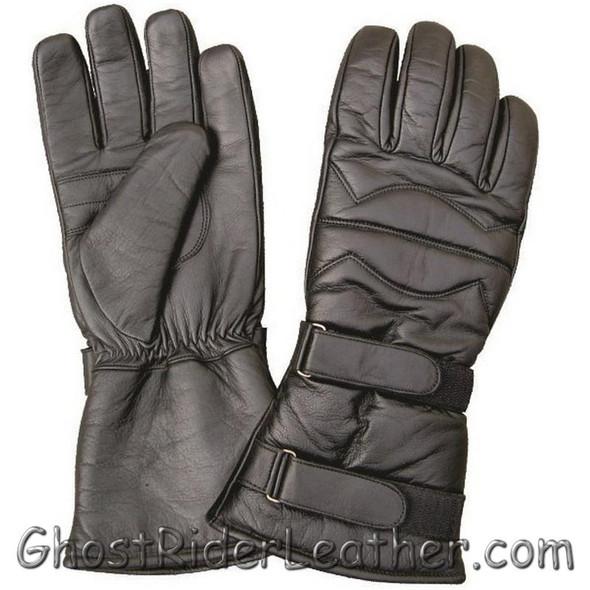 Leather Riding Gloves - Men's - Gauntlet Style - Padded - AL3061-AL