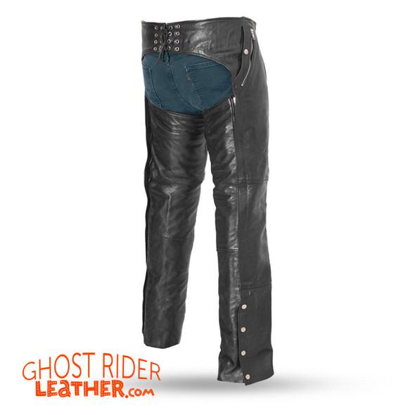 Leather Chaps - Men's - Motorcycle - Patriot - FIM840CSL-CDD-FM Size Chart