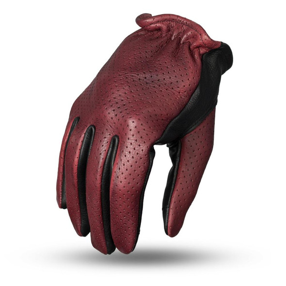 Perforated Roper - Men's Leather Motorcycle Gloves With Tech Touch Fingers - SKU FI218-FM