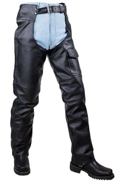 Plain Motorcycle Leather Chaps for Men or Women - SKU C4325-04-DL