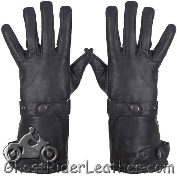 Leather Gloves - Men's - Summer Riding - Gauntlet Gloves - Premium - GL2064-11-DL