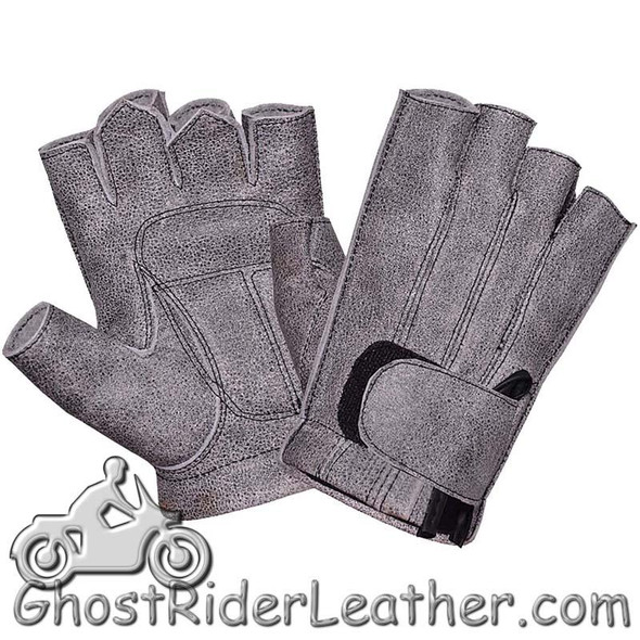 Men's Fingerless Tombstone Gray Leather Motorcycle Riding Gloves - SKU 8133.GN-UN