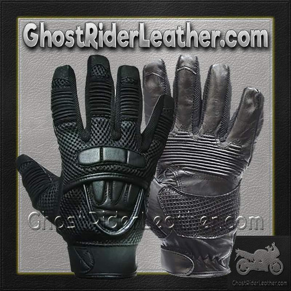 Leather Gloves - Men's - Motorcycle - Double Knuckle -GLZ41-DL