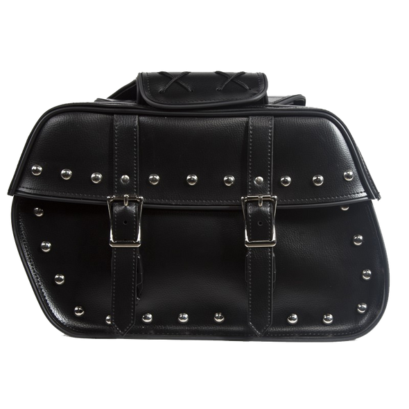 PVC Motorcycle Saddlebags With Studs - Motorcycle Luggage - SKU SD4079-STUD-PV-DL