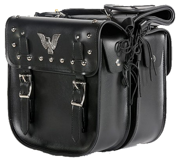 Saddlebags - PVC - Studs and Eagle - Lock - Motorcycle - SD4071-PV-DL