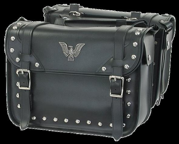 Saddlebags - PVC - Studs - Eagle - Motorcycle Storage - SD4076-PV-DL