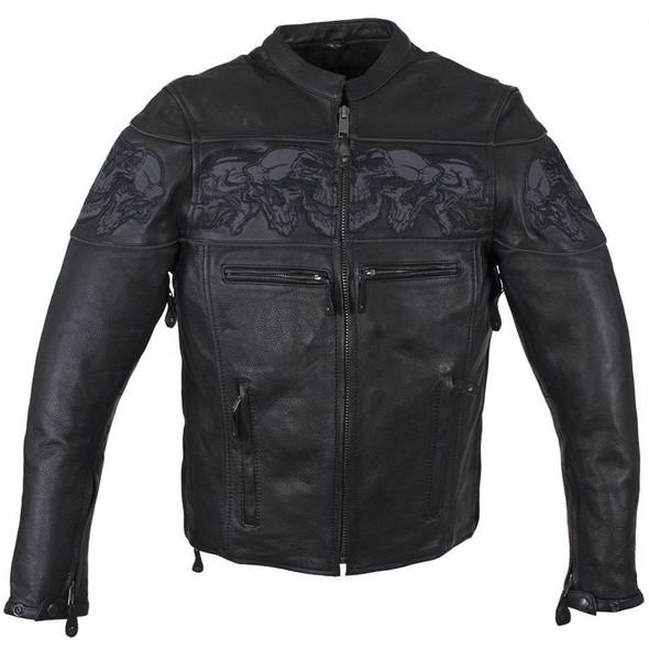 Racer Leather Jacket with Reflective Skulls and Concealed Carry Pocket - SKU MJ825-11-DL