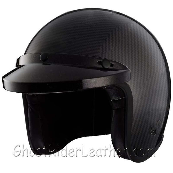 Real Carbon Fiber DOT Open Face 3/4 Motorcycle Helmet - SKU GRL-RM-68-HI