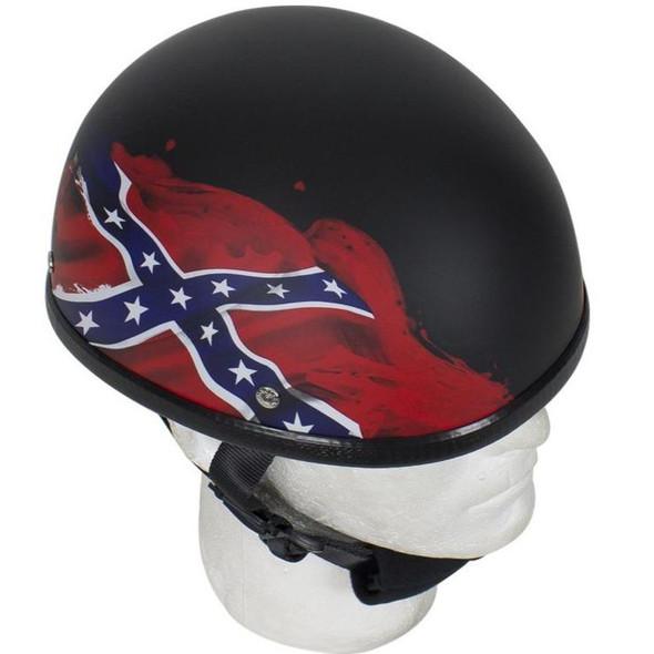 Novelty Motorcycle Helmet - Rebel Flag - Confederate - Shorty - H501-REBEL-DL.