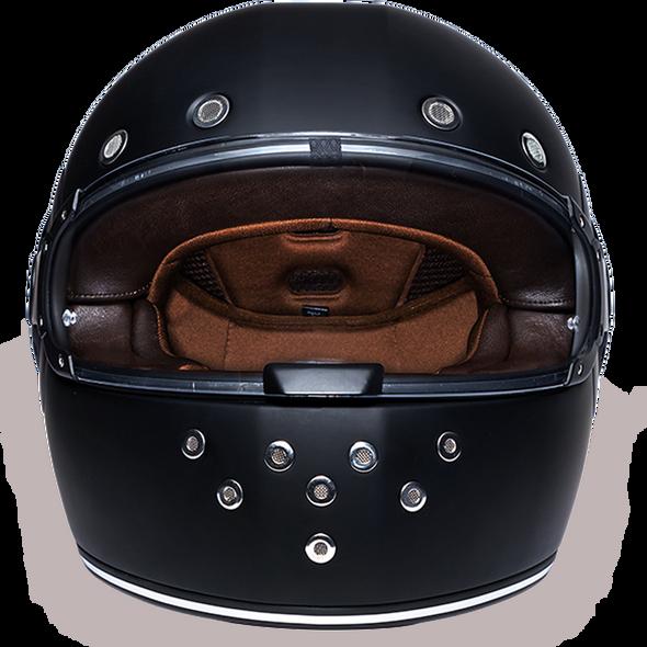 Full Face Motorcycle Helmet - Retro Dull Black - R1-B-DH