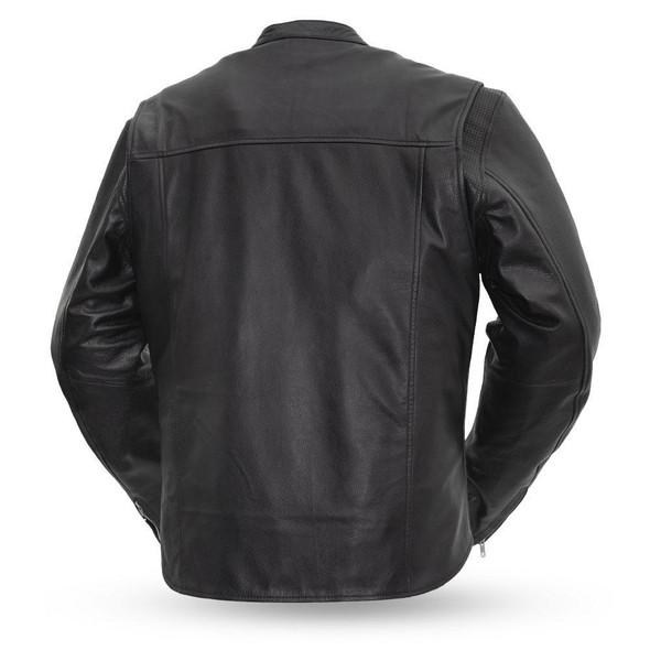 Men's Motorcycle Leather Racer Style Jacket - The Rocky - FIM215CSLZ-FM