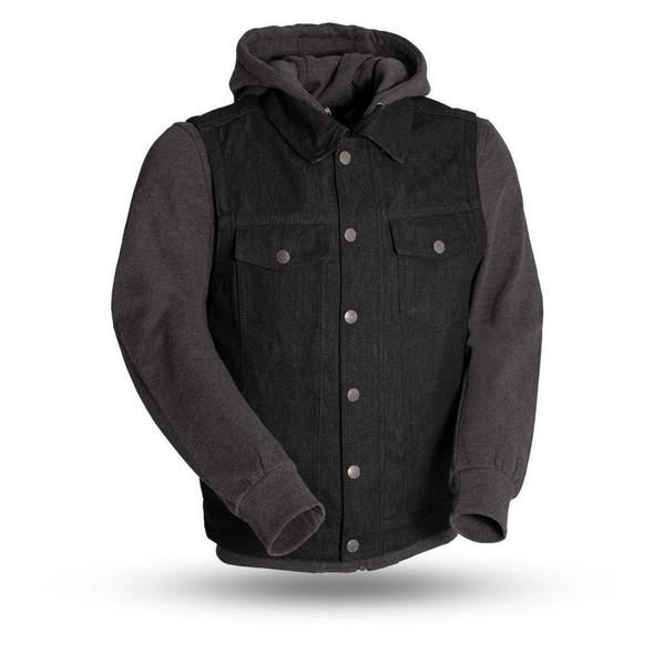 Rook - Men's Motorcycle Denim Vest with Gray/Black Base Hoodie - SKU FIM697DMH-FM