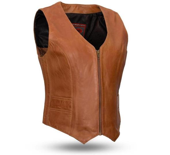 Leather Motorcycle Vest - Women's -  Whiskey or Black - Savannah - FIL544SDM-FM