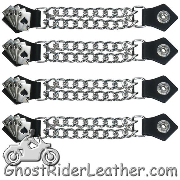 Set of Four Deadmans Hand Vest Extenders with Chrome Chain - AC1046-DL