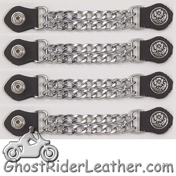 Set of Four Flower and Petals Vest Extenders with Chrome Chain - AC1076-DL