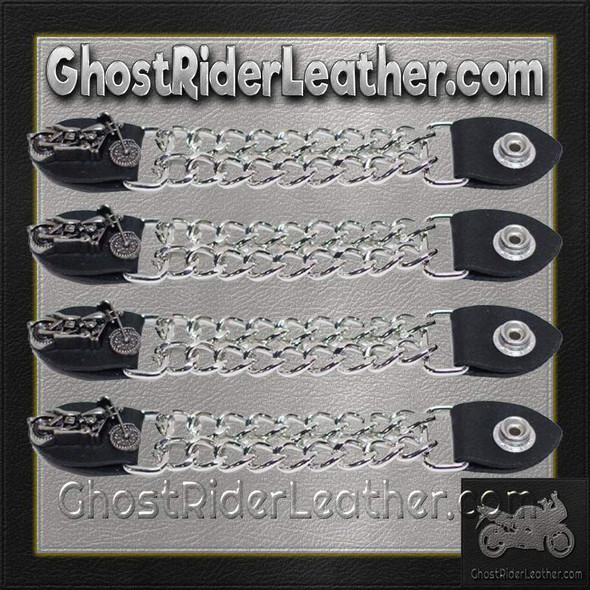 Set of Four Motorcycle Vest Extenders with Chrome Chain - AC1100-DL