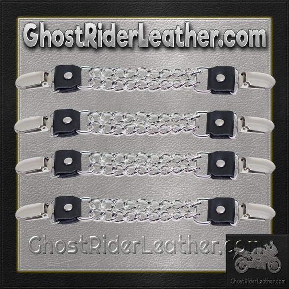 Set of Four Plain Clip On Vest Extenders with Chrome Chain - AC1072-DL