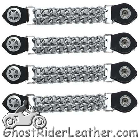 Set of Four Police Star Vest Extenders with Chrome Chain - AC1063-DL