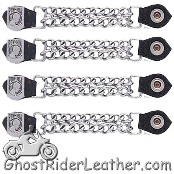 Set of Four POW MIA Vest Extenders with Chrome Chain - AC1065-DL