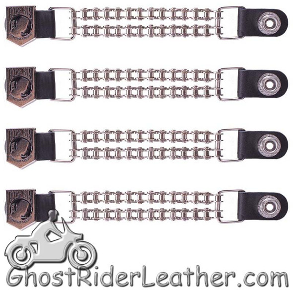 Set of Four POW MIA Vest Extenders with Chrome Motorcycle Chain - AC1065-BC-DL