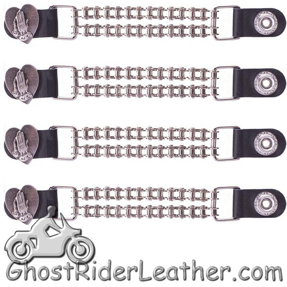 Set of Four Praying Hands Inside Heart Vest Extenders with Chrome Motorcycle Chain - AC1062-BC-DL