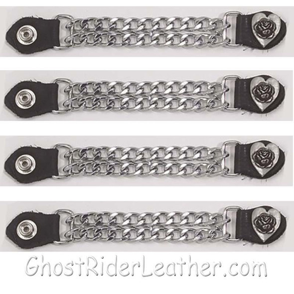 Set of Four Rose In Heart Vest Extenders with Chrome Chain - AC1075-DL