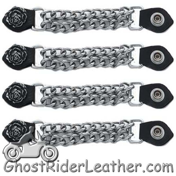 Set of Four Rose Vest Extenders with Chrome Chain
