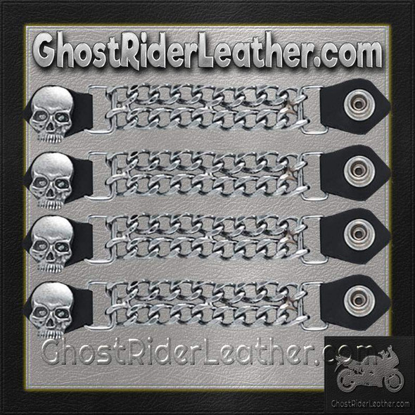 Set of Four Skull Vest Extenders with Chrome Chain - AC1064-DL