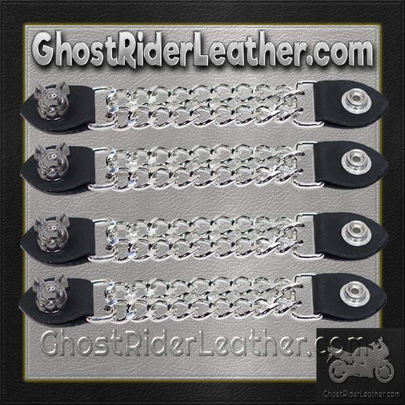 Set of Four Smiling Hog Vest Extenders with Chrome Chain - AC1055-DL