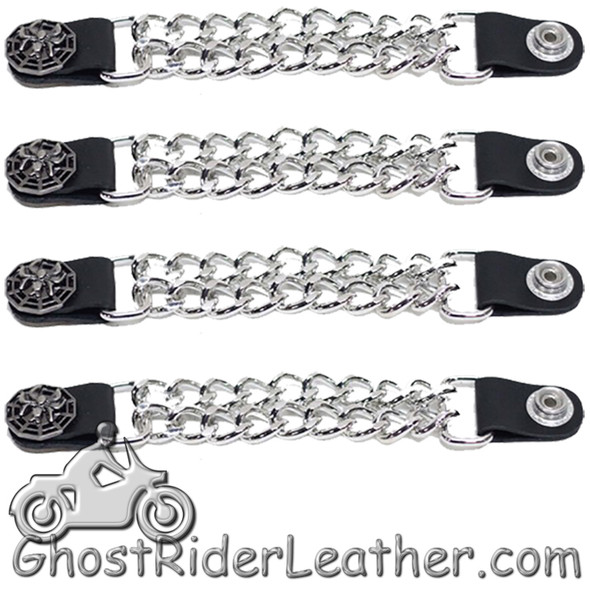 Set of Four Spider On Web Vest Extenders with Chrome Chain - AC1077-DL