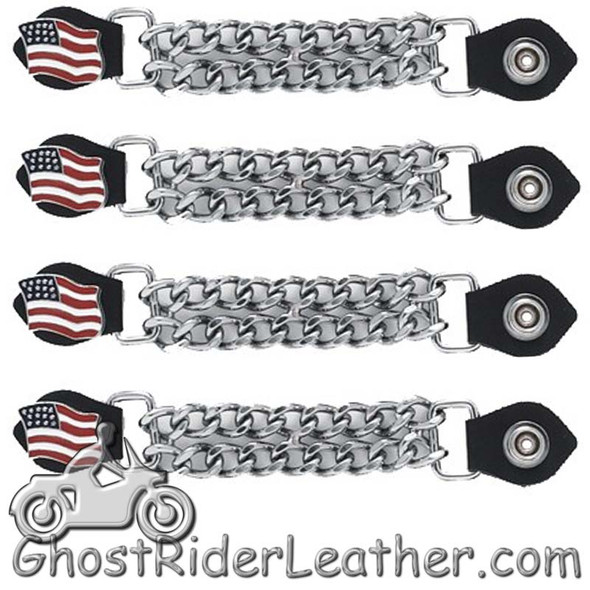 Set of Four USA Flag Vest Extenders with Chrome Chain - AC1058-DL