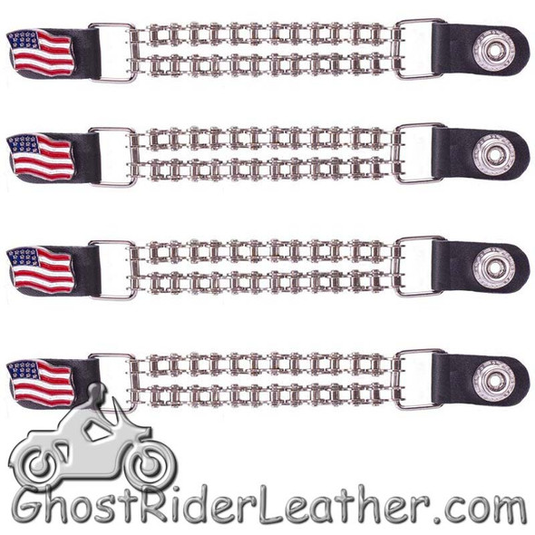 Set of Four USA Flag Vest Extenders with Chrome Motorcycle Chain - AC1058-BC-DL