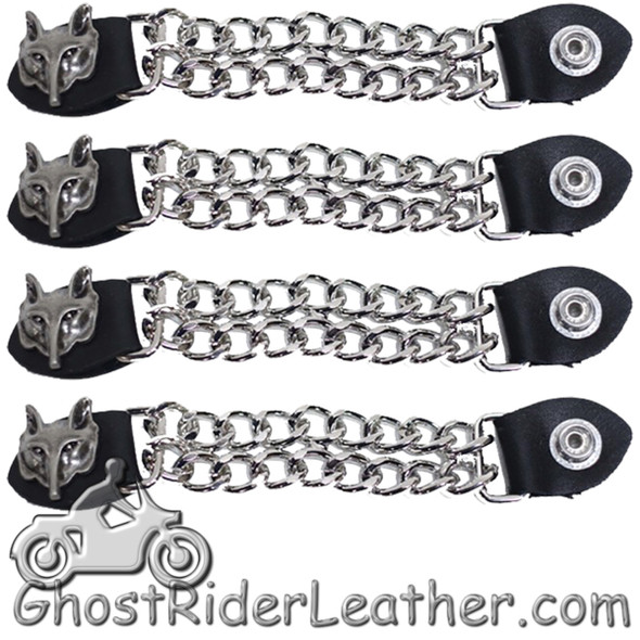 Set of Four Wolf Head Vest Extenders with Chrome Chain - AC1067-DL