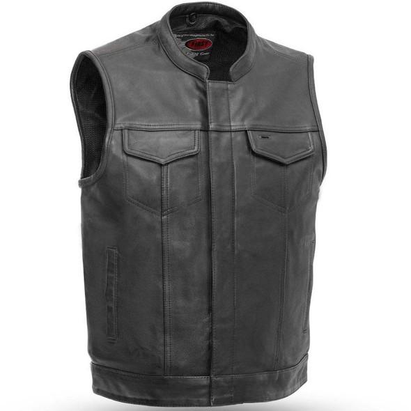 Sharp Shooter - Men's Motorcycle Leather Vest - Up To 8X - SKU FIM689NOC-FM