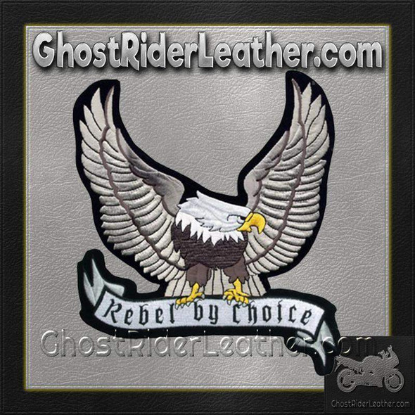 Silver Eagle with Rebel By Choice Banner Patch / SKU GRL-PAT-A24-DL