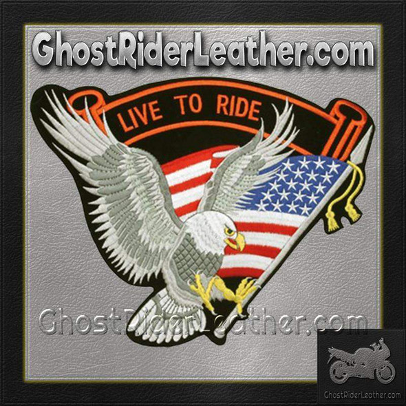 Silver Eagle with USA Flag and Live To Ride Banner Patch / SKU GRL-PAT-A10-DL