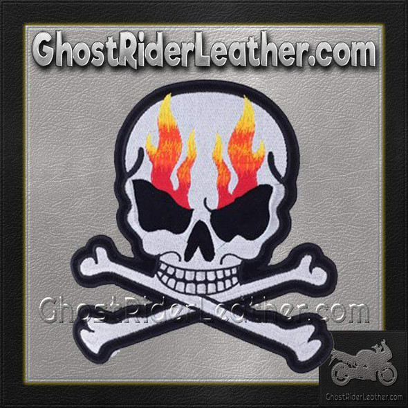 Silver Metallic Skull Crossbones with Flames Patch - Vest Patch - PAT-A15-DL