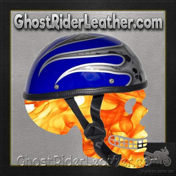 Silver Skull and Blue Flames Novelty Motorcycle Helmet - SKU GRL-H401-D4-BLUE-1-DL