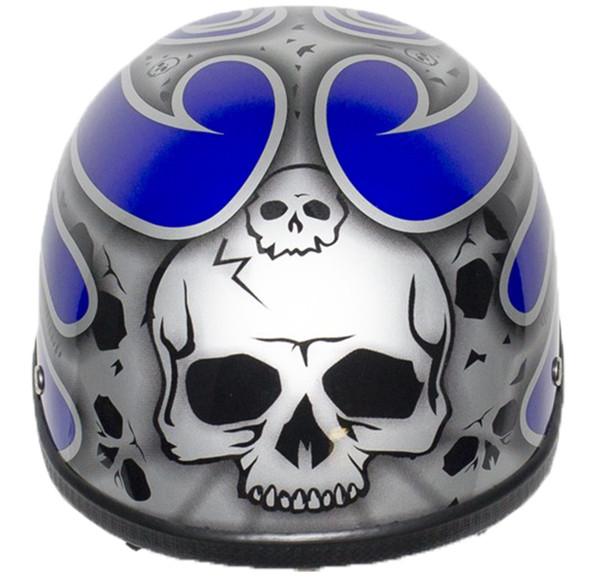Novelty Motorcycle Helmet - Silver Skulls - Blue Flames - H401-D4-BLUE-1-DL