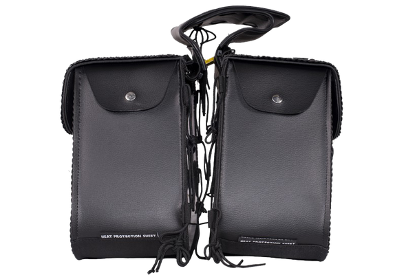 Slanted PVC Motorcycle Saddlebags with Studs - Motorcycle Luggage - SKU SD4054PV-DL