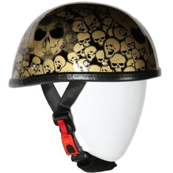 Novelty Motorcycle Helmet - Smokey Gold Skull Boneyard - Shorty - H6401-SMOKEY-DL
